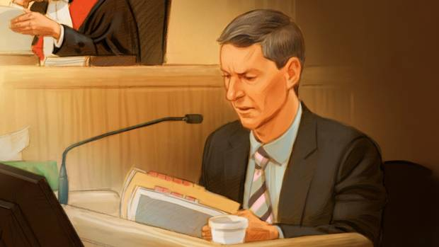 Nigel Wright testifies at the Mike Duffy trial on Aug. 17.