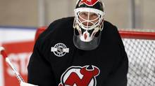 New Jersey Devils goaltender Martin Brodeur stands in goal during a team practice before Game 3 of the NHL Stanley Cup Final between the New Jersey Devils and the Los Angeles Kings in El Segundo, California June 3, 2012. (LUCY NICHOLSON/REUTERS)