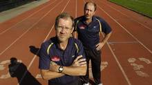 Brooks founders Mike Dyon, left and his brother Paul are photographed at Centennial Park in Etobicoke, Ont. Sept. 17/2007. Brooks Canada are sponsoring a $1.5 million project that is bringing the country's top runners together to train for the next 5-6years. (Kevin Van Paassen)