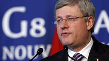 Prime Minister Stephen Harper speaks during a news conference at the G8 summit in Deauville, France, on May 27, 2011. (Markus Schreiber/Associated Press)