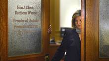 Andrea Horwath, leader of the Ontario NDP party, leaves the office of Premier Kathleen Wynne after a short meeting on May 15 2013. (Fred Lum/The Globe and Mail)