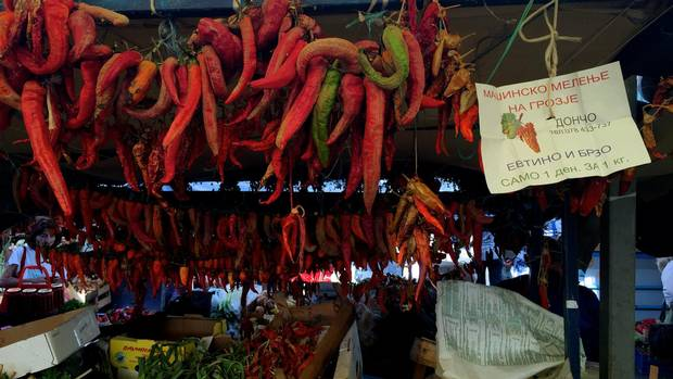 Market stalls in Macedonia literally overflow with green, yellow and red peppers.