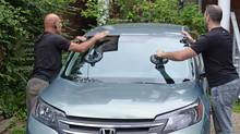 Staff at Budget Auto Glass properly install a second new windshield, after another installer used unsafe materials and workmanship in the original replacement. (Philippe Devos/The Globe and Mail)