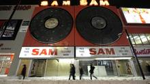 MoPhotos of what is still left of Sam the Record Man on Yonge Street, near Dundas. They have gone out of business. Pictures taken on December 17/07. (Tibor Kolley/The Globe and Mail)