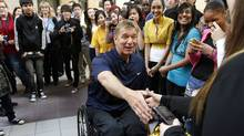 In preparation for the 25th anniversary of his Man in Motion Tour, Canadian Paralympian and activist Rick Hansen meets with students from Rick Hansen Secondary School on Mississauga to launch an online contest aimed to get 7,000 participants willing to take turns re-creating his original 12,000 kilometre trek across Canada. (Fernando Morales/The Globe and Mail/Fernando Morales/The Globe and Mail)