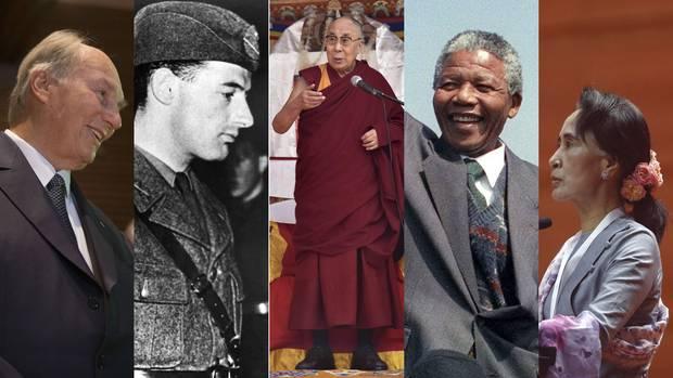 From left: The Aga Khan, Raoul Wallenberg, the Dalai Lama, Nelson Mandela and Aung San Suu Kyi.