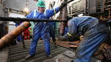 Workers tap deep into North Dakota's Bakken formation, on a Precision Drilling rig. (Nathan VanderKlippe/The Globe and Mail)