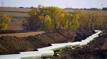 The Keystone oil pipeline is pictured under construction in North Dakota in this undated photograph released on Jan. 18, 2012. (HANDOUT/Reuters)