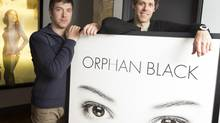 "Ivan Schneeberg, left, and David Fortier, of Temple Street Productions, are the men behind some shows like ""Being Erica"" and their latest, Orphan Black, airing on the Space channel, which is receiving great reviews and winning awards. The pair were photographed in their office on King Street in Toronto, Ontario on April 16, 2014. (Peter Power for The Globe and Mail)"