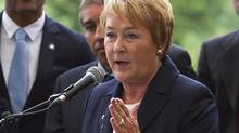 Parti Quebecois Leader Pauline Marois, gestures during a news conference in Quebec city Friday, August 10, 2012. Quebecers are going to the polls on Sept. 4. (CLEMENT ALLARD/THE CANADIAN PRESS)