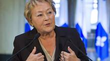 Quebec Premier Pauline Marois gestures during a news conference Tuesday, January 22, 2013 in Quebec City. (Clement Allard/THE CANADIAN PRESS)
