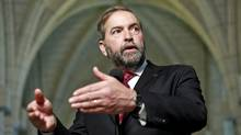 Opposition Leader Thomas Mulcair speaks to reporters after an NDP caucus meeting in Ottawa on May 16, 2012. (BLAIR GABLE/Blair Gable/Reuters)