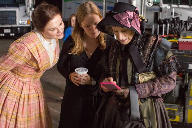 Atwood, right, appears in Polley's adaptation of Alias Grace – which will later air on CBC and Netflix – as 'disapproving woman.'