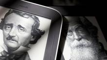 Portraits of Edgar Allan Poe and Walt Whitman are seen on the home screens of Nook readers from Barnes & Noble. British publisher Pearson PLC has joined Microsoft in acquiring a stake in the Barnes & Noble subsidiary. (DOMINICK REUTER/REUTERS)