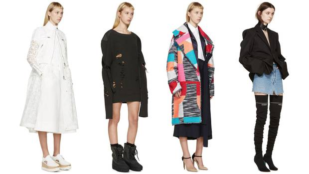 Contrary to the merchandising strategy of many other luxe outlets, the product selection at Ssense prioritizes statement pieces over everyday basics. Recent arrivals include looks by (from left) Sacai, Yeezy, Roksanda and Vetements.