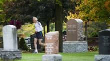 Ed Whitlock, 81, does his daily training in a cemetery in Milton, Ont., on Tuesday, Oct. 9, 2012. Whitlock has been running marathons all his life and holds 15 world records in his age category (Nathan Denette/The Canadian Press)