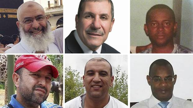 The victims of the Quebec City mosque shooting. Clockwise from top left: Azzeddine Soufiane, 57; Khaled Belkacemi, 60; Ibrahima Barry, 39; Mamadou Tanou Barry, 42; Abdelkrim Hassane, 41; and Boubaker Thabti, 44.