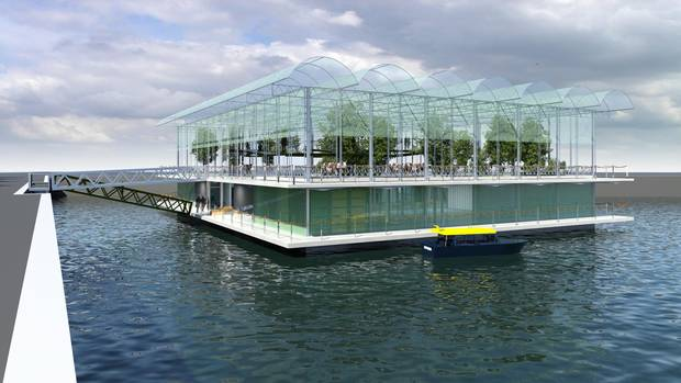 A rendering of the world's first floating farm, located in Rotterdam's Merwehaven harbour.