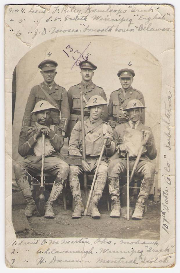"The 107th ""Timber Wolf"" Battalion was a unit largely made up of Indigenous people from Manitoba and Ontario. Lieutenant James Moses, of the Delaware band from Six Nations of the Grand River, is No. 6. The postcard, daded July 29, 1917, was sent as the 107th was being rotated to the front line ahead of the Battle of Hill 70, where they were involved in some of the heaviest fighting. (View the back of the postcard here.)"