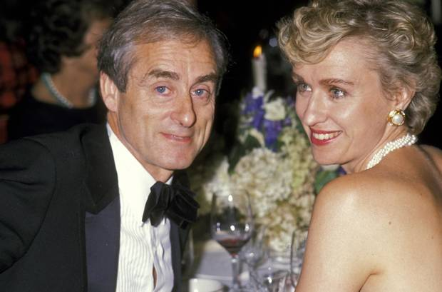 Harold Evans and Tina Brown attend a fundraiser in 1989 at the Plaza Hotel in New York.