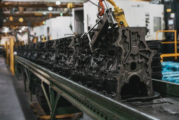 An assembly line for engine blocks for Volvo trucks is seen at the Linamar factory in Arden, N.C.
