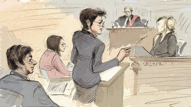 Jian Ghomeshi, lawyer's assistant Danielle Robitaille, defence lawyer Marie Henein, Justice William Horkins and a witness appear in court on Feb. 2.