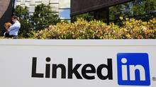 In this May 9, 2011 file photo, LinkedIn Corp., the professional networking Web site, displays its logo outside of headquarters in Mountain View, Calif. LinkedIn said Wednesday, June 6, 2012, it is investigating reports that more than six million passwords have been stolen and leaked onto the Internet. (Paul Sakuma/AP)