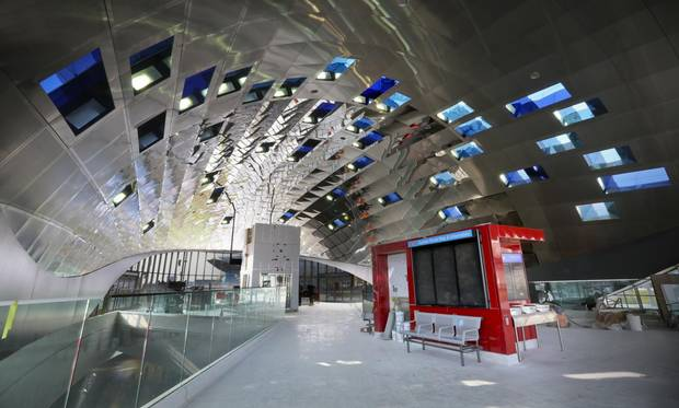 Vaughan Metropolitan Centre station, part of the TTC's Yonge-University-Spadina subway extension, incorporates an artistic design by Toronto-based Paul Raff Studio, transforming its ceiling into a display of mirrored panels and windows to create a kind of kaleidoscopic sundial.