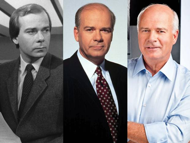 Peter Mansbridge, seen in 1982, 2002 and present-day photos.