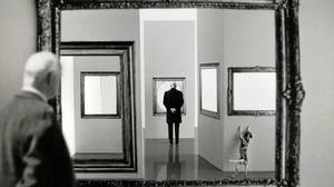 Gilbert Garcin's photographs depict him as part Mr. Magoo, one part a figure out of Magritte.