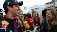 Red Bull Formula One driver Daniel Ricciardo, from Australia, speaks to the media at Circuit Gilles Villeneuve, Wednesday, June 4, 2014 in Montreal. (Tom Boland/THE CANADIAN PRESS)