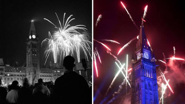Fireworks ignite over Parliament Hill in 1967, left, and 2017, right.