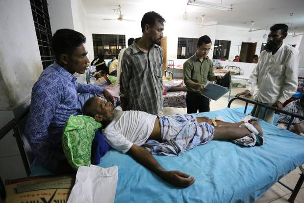 Mohammad Hossen was knocked unconscious when a landmine erupted in front of him as he fled Myanmar.