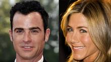 Photo of Justin Theroux by Pascal Le Segretain / Getty Images Photo of Jennifer Aniston by Nathan Denette / The Canadian Press