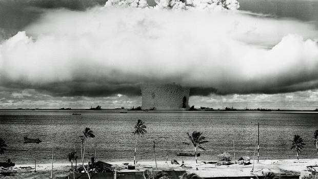 A massive column of water rises from the sea as the second atomic bomb test at Bikini Atoll explodes underwater on July 25, 1946.