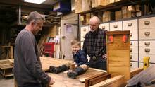 Left to right, John Bousfield (41), <240>his 3-year-old son Maxton, <240>and John's father Alan Bousfield, 61, at Historic Lumber,<240>just outside of Acton, Ont. (Dave LeBlanc FOR THE GLOBE AND MAIL For The Globe and Mail)