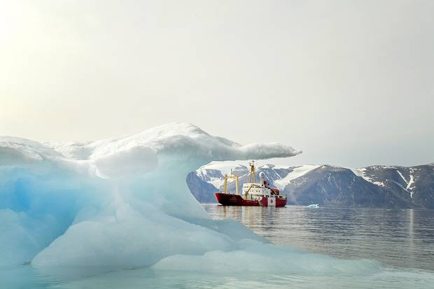 The Polar Prince anchored off the shore of Sirmilik National Park in Lancaster Sound. Michelle Valberg/Students on Ice Foundation.