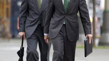 Tiff Macklem, left, is the front-runner to replace Mark Carney. (Adrian Wyld /The Canadian Press)