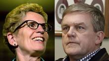 Ontario Premier Kathleen Wynne and New Brunswick Premier David Alward were supportive of the federal government's new concessions on the Canada Job Grant. (NATHAN DENETTE AND TOM BATEMAN/THE CANADIAN PRESS)