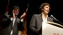At an event held in Dieppe, N.B. on Oct. 5, 2012, Dominic LeBlanc, MP for Beausejour, announced that he will not be running for the federal Liberal leadership, but would instead be putting his full support behind his lifelong friend, Justin Trudeau, who officially entered the leadership race earlier this week. The two later spent some time together at the Leblanc family cottage. (Peter Power/The Globe and Mail)