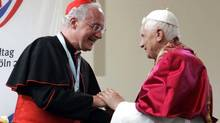 Pope Benedict XVI (R) is greeted by Cardinal Marc Ouellet, Archbishop of Quebec and Primate of Canada during a meeting with seminarians outside St. Pantaleon Church in Cologne, Germany, in this August 19, 2005 file photo. According to media reports on June 30, 2010, Pope Benedict XVI has named Ouellet chief of the Vatican's Congregation for Bishops. (POOL/Pier Paolo Cito/Reuters)