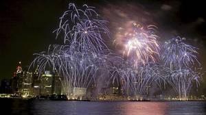 Fireworks light up the Detroit skyline in this undated photo. A year ago the city was reeling from the near-collapse of the Big Three auto makers. Today, the outlook is much rosier.