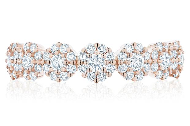 The Designer Good: Birks - Iconic Stackable Rose Gold and Diamond Snowflake Ring, $4,995, through www.maisonbirks.com.