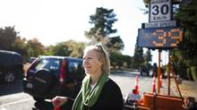 Local resident Pamela McColl, who is fed up with the car traffic along Point Grey Road, is photographed along Point Grey Road in Vancouver, British Columbia, Tuesday, October 2, 2012. (Rafal Gerszak for The Globe and Mail)