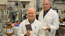 The University of Guelph's Robert Lencki, right, and John Craven have discovered a process that may lead to healthier chocolate. (Susan Bubak/Susan Bubak)