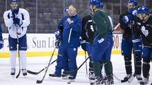 Toronto Maple Leafs Leafs head Coach Randy Carlyle works with the players during practice at the Air Canada Centre in Toronto on December 04, 2013. (Deborah Baic/The Globe and Mail)