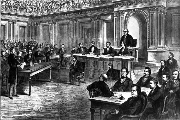 An artist's rendering shows the public from above as the U.S. Senate opens the High Court of Impeachment during the trial of president Andrew Johnson on March 13, 1868. Johnson, the first U.S. president to be impeached in the House, kept his job by a single vote in the Senate.