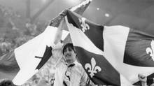 """No"" supporters celebrate a victory in the Quebec Referendum at a Montreal arena on May 20, 1980. (STAFF/Canadian Press)"