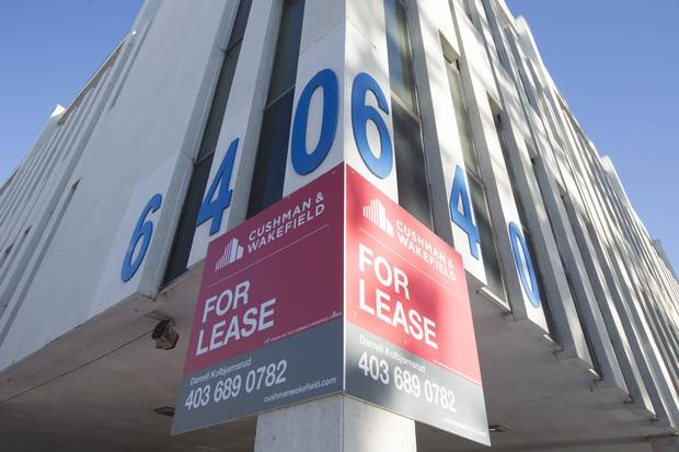 Building for lease in Calgary: A year ago unemployment was 4.7 per cent. It may soon be double that.