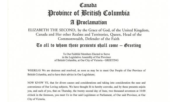 A portion of the official proclamation recalling the B.C. legislature for June 22, 2017.